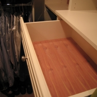 Aromatic cedar drawer bottoms allow for a less expensive alternative to cabinet backs. Drawer bottoms are 1/4